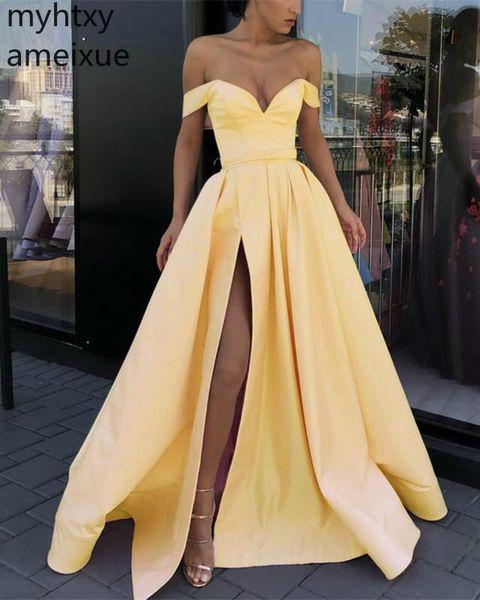 2019 Yeni Basit Sıcak Satış Sevgiliye Kat Uzunluk Balo Parti Elbiseler Kapalı Omuz Akşam Dresse Custom Made Robe De Soiree