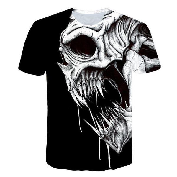 New gimmick 3d printing men's t-shirt sports casual loose comfortable short-sleeved men's Halloween costume