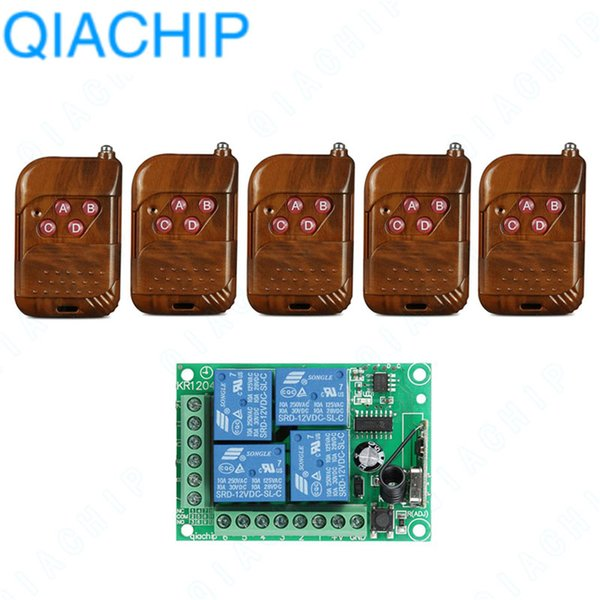 QIACHIP 433Mhz Universal Wireless Remote Control Switch DC 12V 4 CH Relay Receiver Module + RF Transmitter 433 MHz Remote Lights