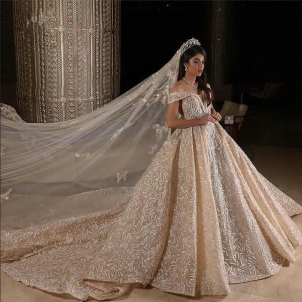 Gerçek Resimler Balo Düğün Dresse Champagne Kapalı Omuz Lüks Kristal Boncuklu Suudi Arabistan, Dubai Gelin Kıyafeti Plus Size