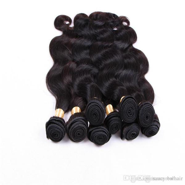 Vücut Dalga Saç 6 Paketler% 100% İnsan Saç Örgüleri Brezilyalı Perulu Saç Uzantıları Doğal Siyah Renk 1B 12-28 Inç 50GR TEK Parça