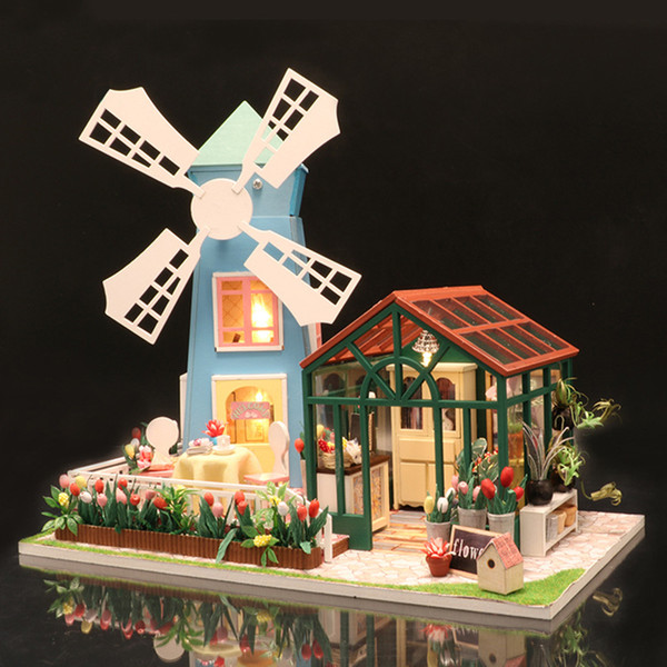 DIY Miniature Doll House with Furnitures Wooden Windmill Flower House Model for Children Adult Building Kits Dollhouse (S8