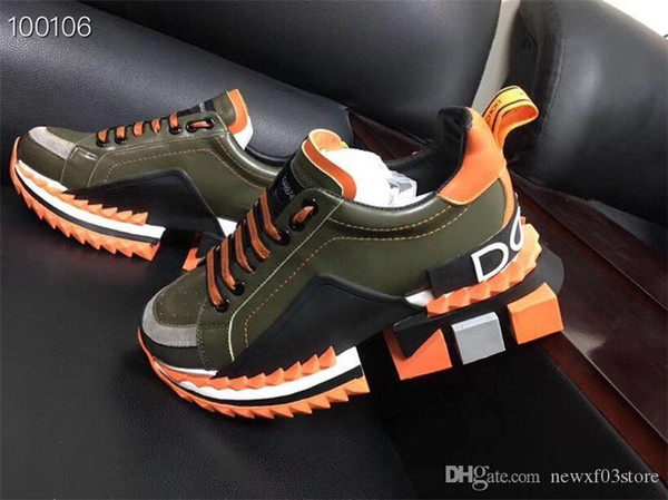 2019 New Arrive DOLCE & GABBANA D.G LEATHER TRAINERS SNEAKERS Super King Rubber Suede Leather Daddy Casual Shoes With Original Box