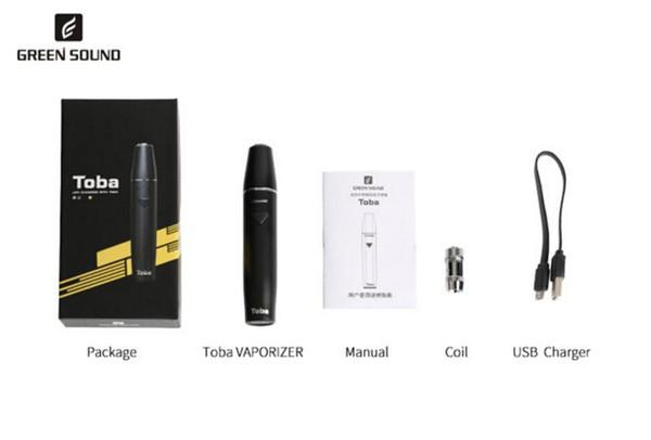 Mustergröße Original GS Toba Vape Kit mit Toba 1500mAh Batterie und Spule Hitze brennen nicht elektronische Zigarette Kit 4 Farben Freies Verschiffen