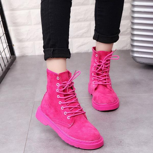 Nuove scarpe calde per l'autunno e l'inverno del 2019 Scarpe con tacco basso con tacco ruvido, stivali Martin europei con lacci impermeabili in piattaforma europea e americana