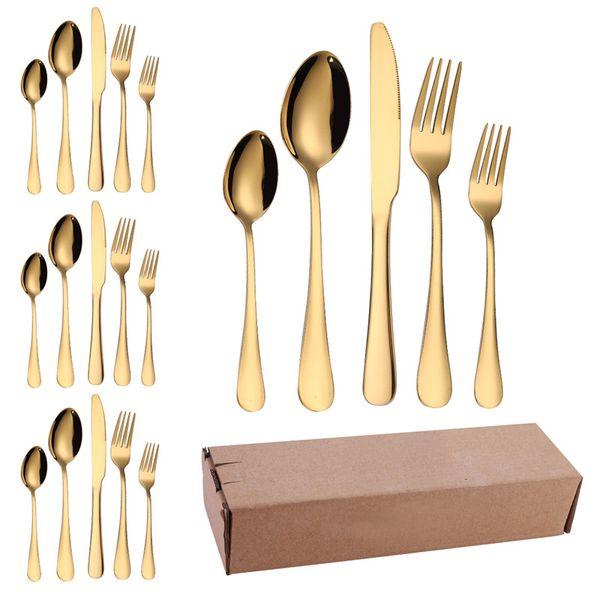 Altın Çatal Seti Paslanmaz Çelik Sofra 20pcs / lot Çatal Bıçak Kaşık Çay Yüksek Quility Lüks Sofra Takımı Batı Mutfak Aksesuarları
