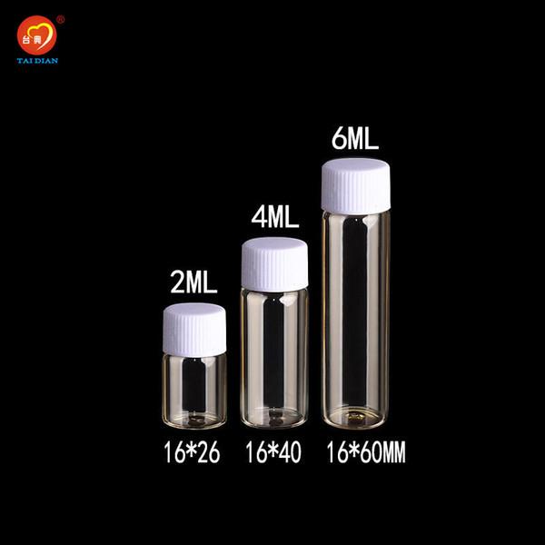 2ml 4ml 6ml Glass Bottles With Plastic Screw Cap Transparent Clear Mini Vials Plastic Bottles Jars Cosmetic Containers 100pcs