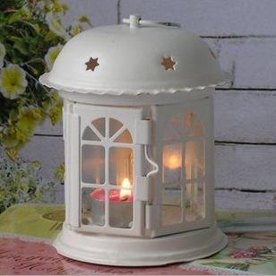 European Iron Hollow Lamp Candlestick Star House Candleholder Art White Black Candle Tea Light Candelabra Home Decor Candle Holders
