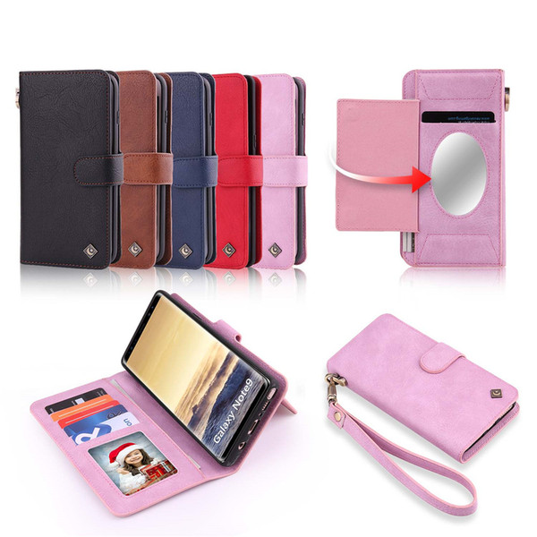 2 in 1 Leather Flip Case Detachable Back Case with 7 Card Slots 2 Purses Lanyard Mirror Shell for Galaxy S9+ S9 S8 S8+ S7 Note9 Note8