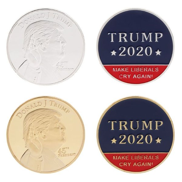 2020 American 45th President Donald Trump Commemorative Coin United States President Avatar Gold Coins Silver Badge Metal Craft Collection