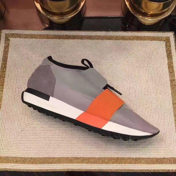 With box Balenciaga Yeni Tasarımcı Ayakkabı Mens Rahat Ayakkabılar 2019 Yeni Ucuz Moda Flats Koşucular Racer Lüks Ayakkabı Womens