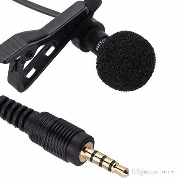 2018 Mini 3.5mm Jack Microphone Lavalier Pince à cravate Microphones filaires pour conférences téléphoniques, téléphone mobile 1.5m de long câble