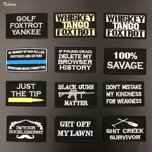 Tactical Morale Black Letters Words Logo Iron on Patches for Jacket Jeans Embroidered Badges DIY Applique Stickers