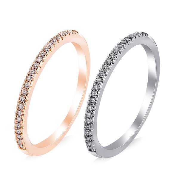 2019 Top Quality Gold Concise Classical CZ Wedding Ring Rose Gold Color Austrian Crystals Wedding Engagement Rings Wholesale