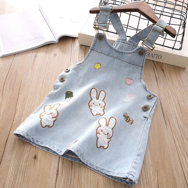2019 New Summer Item Girl Cute Rabbit Jeans Suspender christmas Dress good mouse Wedding dresses thanksgiving velvet baby romper frozen