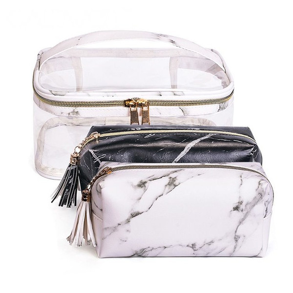 Transparent Marble Cosmetic Bag Set PU Leather Makeup Bags Travel Organizer Beauty Case Neceser Waterproof Toiletry Bag CN255