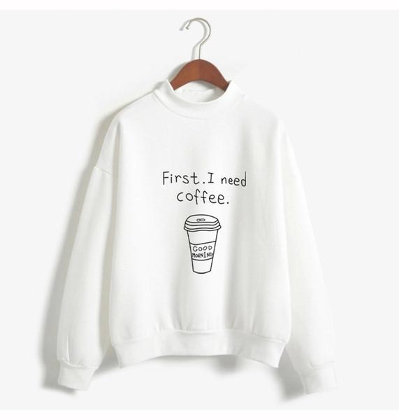 sweatshirt winter jacket women New Europe and America large size coffee letter loose plus velvet long-sleeved women