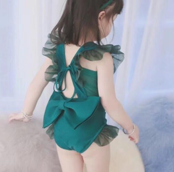 top popular 5pcs lot Girls Swimwear children Swim wear princess ruffle Bow Green swim set 2-7T sylvia 591453193478 2021