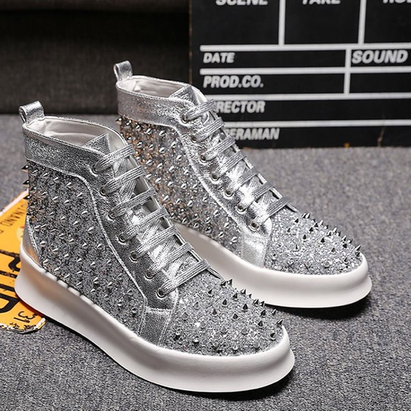 MEXEMINA Designer Mode Hommes Chaussures Marque Bottes High Top Spikes Rivets Bas Cheville À Lacets Casual Chaussures Zapatillas Hombre