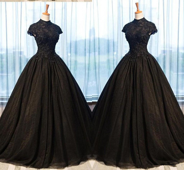 Christmas Ball Gowns Plus Size.2019 Black Lace Evening Dresses Ball Gowns High Neck Applique Beaded Empire Waist Princess Prom Dresses Graduation Dress Women Plus Size Brown Evening