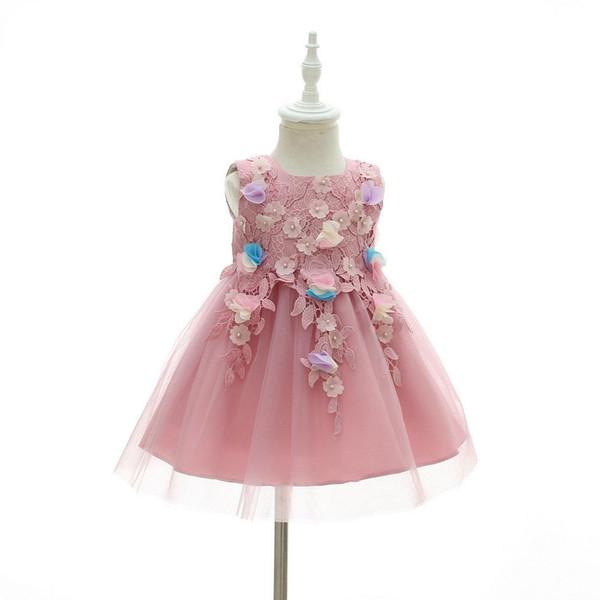 Trajes 0-2 años muchacha del niño del cumpleaños de vestir bautismo bebé recién nacido princesa niños y regalo de bautizo Vestidos para niñas de las flores
