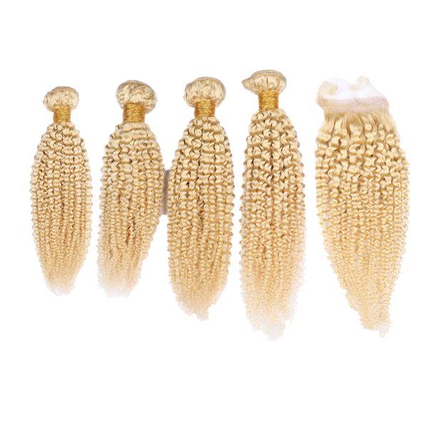El pelo rizado rizado teje 4 piezas con cierre de encaje 4x4 de color Rubio 613 Cierre con extensiones de cabello rizado afro doble Wefted 440g