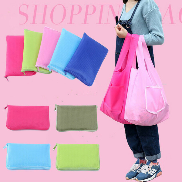 Reusable Folding Solid Shopping Bag Grocery Shoulder Pouch Outdoor Eco Recycle Large Capacity Shopping Handbag