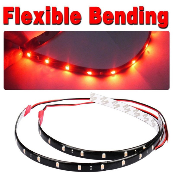 2PCS / set 30CM 2W bande de voiture lumière 15 LED moto barre flexible 3528 SMD soubassement bateau atmosphère décorative lampe