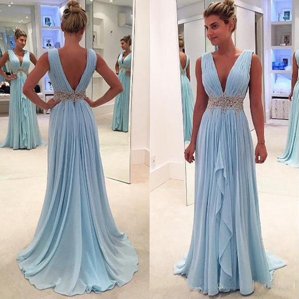 Luz azul céu chiffon uma linha vestidos de noite longo profundo decote em v frisado e apliques faixa vestidos de baile com pregas