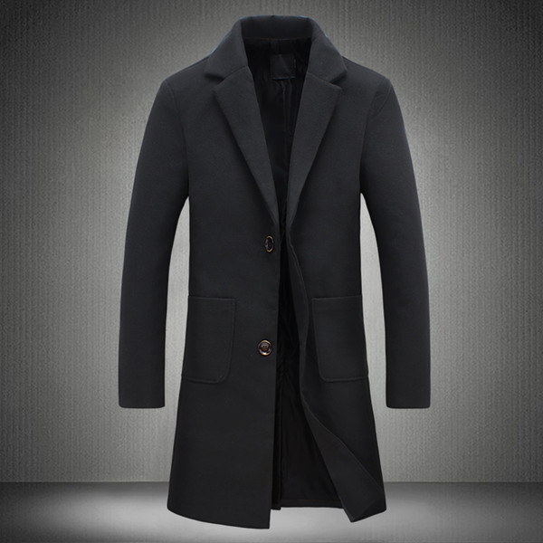 2018 New Autumn Winter Trench Coat Men Turn-Down Collar Slim Fit Overcoat for Man Long Coat Windbreaker 5XL