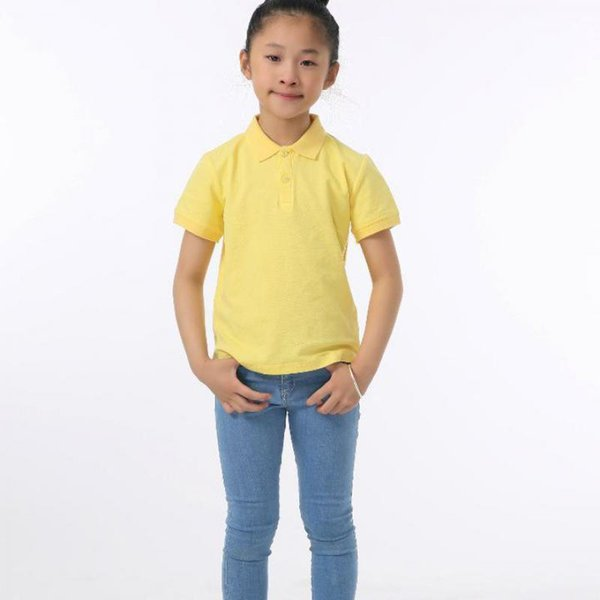 2019 foreign trade children's clothing summer short-sleeved T-shirt in the big boy boys and girls lapel T-shirt beads to cotton