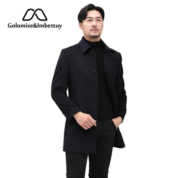 GolomiseImbettuy Moda Masculina Jaqueta de Velo / Casaco X-Long Casual 100% Cashmere Jacket / Trench