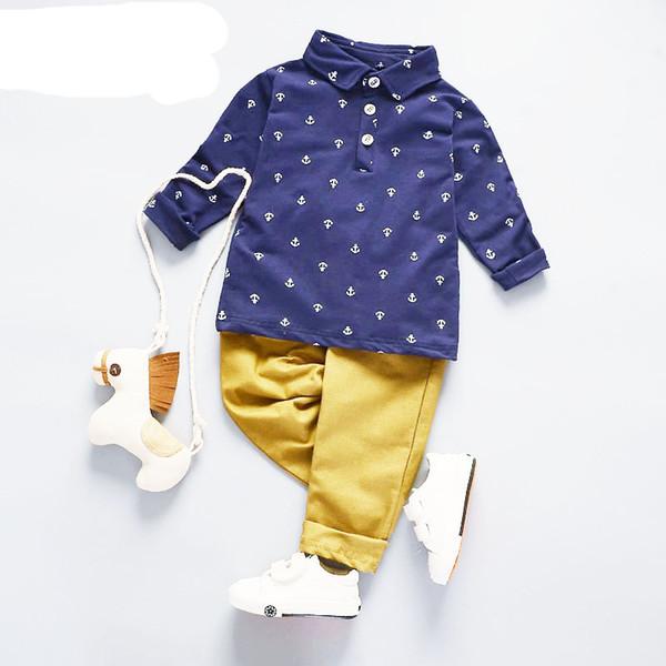 Bebek Erkek Giysileri Setleri 2019 İlkbahar Sonbahar Moda Kostüm Çocuklar Çapa Baskı Polo Gömlek + Pantolon Suit Boys Set 1-4 Yıl