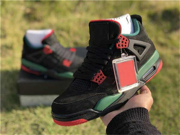 2019 Sıcak Satış 4 IV NRG Siyah Pizzeria Erkekler Basketbol Ayakkabıları Için Siyah Kırmızı Yeşil Süet AQ3816-163 Spor Ayakkabı Sneakers 7-13