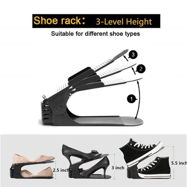 12pcs Durable Adjustable Shoe Organizer Footwear Support Slot Space Saving Cabinet Closet Stand Shoes Storage Rack