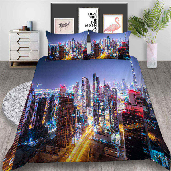 Copripiumino Colorato.Acquista City Bed Set Biancheria Da Letto Stampato King Size