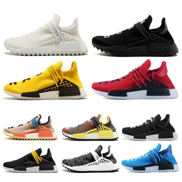 Acheter Adidas Nmd Human Race Créateur De Race Humaine Hu Trail Pharrell Williams Hommes Chaussures De Course Crème Blanc Noir De $81.45 Du