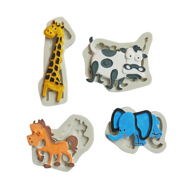 cute animal giraffe elephant horse cattle modeling silicone Mold fondant clay mud mold fondant chocolate cake decoration t