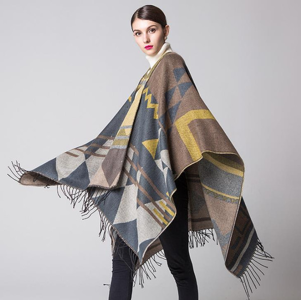 Bohemia Fashion Autumn Winter Shawl Scarf Imitation Cashmere Lady Travel Cape Cloak Women's Poncho Outwear Cloaks C3979