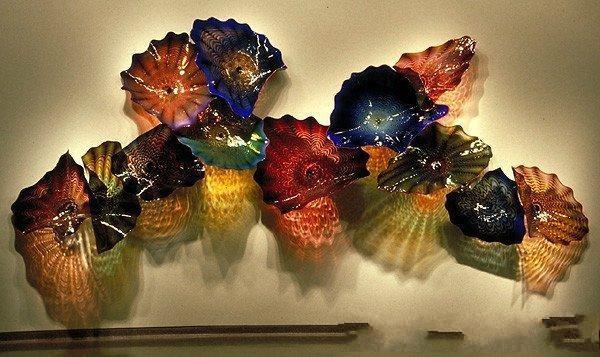 Modern Art Decoration Flower Wall Art Lamps OEM Mouth Blown Borosilicate Glass Craft Luxury Murano Glass Flower Hanging Wall Lamps