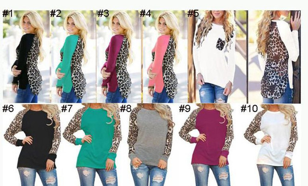Women Leopard long sleeve T-shirt with printing chiffon for autumn and winter stitching tops colorful Cotton T-shirt Blouses QQA34