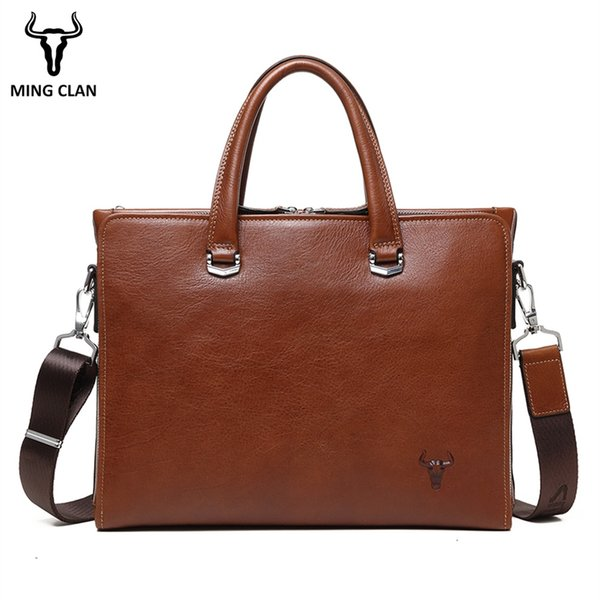 "Business Bag Made of Italian Vegetable Tanned Leather Mens Briefcase Brown 14"" Computer Bags Vintage Handbag for Men Brief Case #342759"