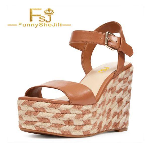 Tan Wedge Sandals Summer Platform Sandals for Women Summer Noble Attractive Generous Incomparable Elegant Women Shoes FSJ Sexy