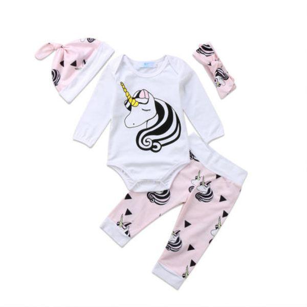 4pcs cartoon baby girl clothes set infant newborn baby girls long sleeves unicorn romper pink pants princess baby girls outfits