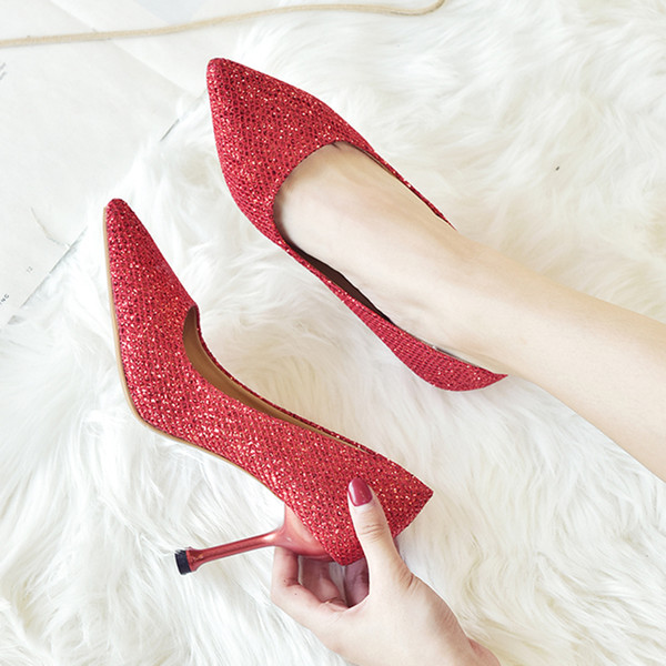 Designer Dress Shoes High Heels Dress Woman Wedding Sequined Cloth Pumps Bling Boat Glitter red woman Black Gold 6907