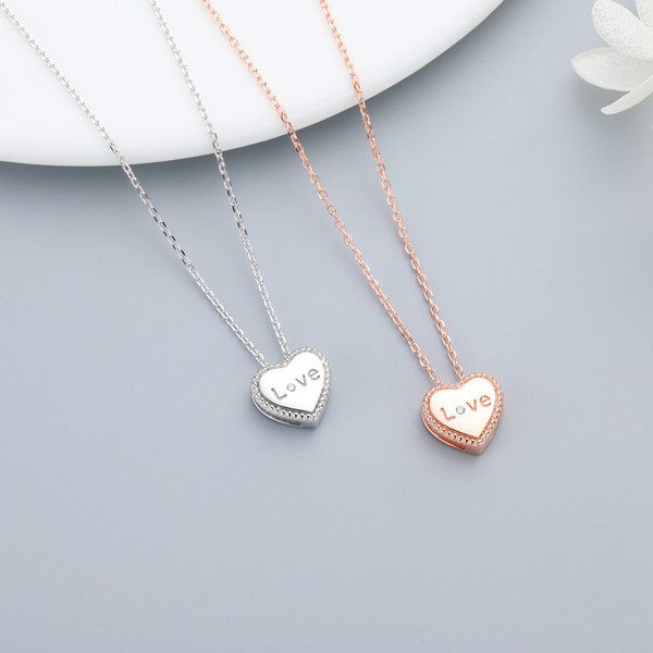 S925 sterling silver letters love heart pendant necklace ladies fashion simple clavicle chain necklace jewelry gift 6-XL1091
