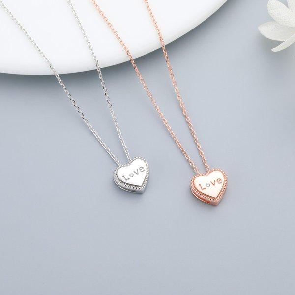S925 gümüş harfler aşk kalp kolye kolye bayanlar moda basit klavikula zincir kolye takı hediye 6-XL1091