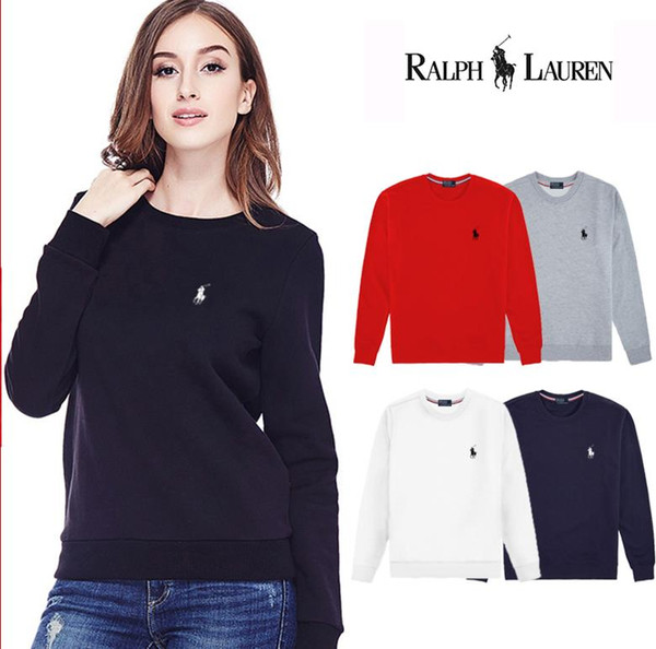 WOMen's early spring new cotton long-sleeved hoodie fashion print pullover, sports comfort sweater 5 color round collar simple hoodie ralph