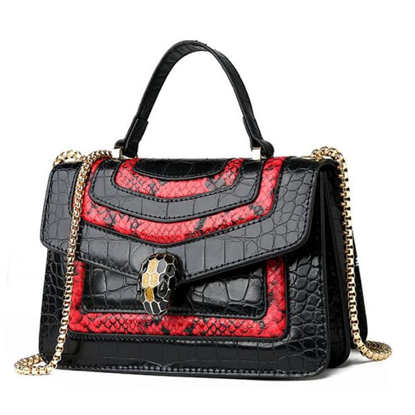 Snake Skin Pu Leather Women Handbags Shoulder Bags Punk Style Female Tote Bags Sac A Main