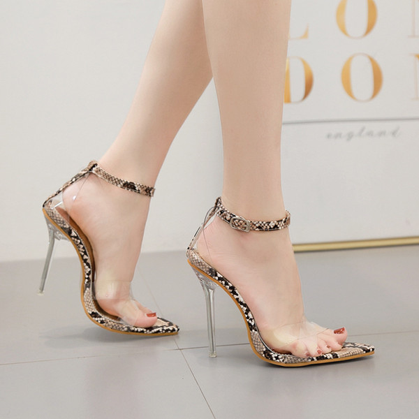 Impressed2019 Crystal Year Sandals Woman Fine With High-heeled 40 Will Cobra Pattern Women's Shoes